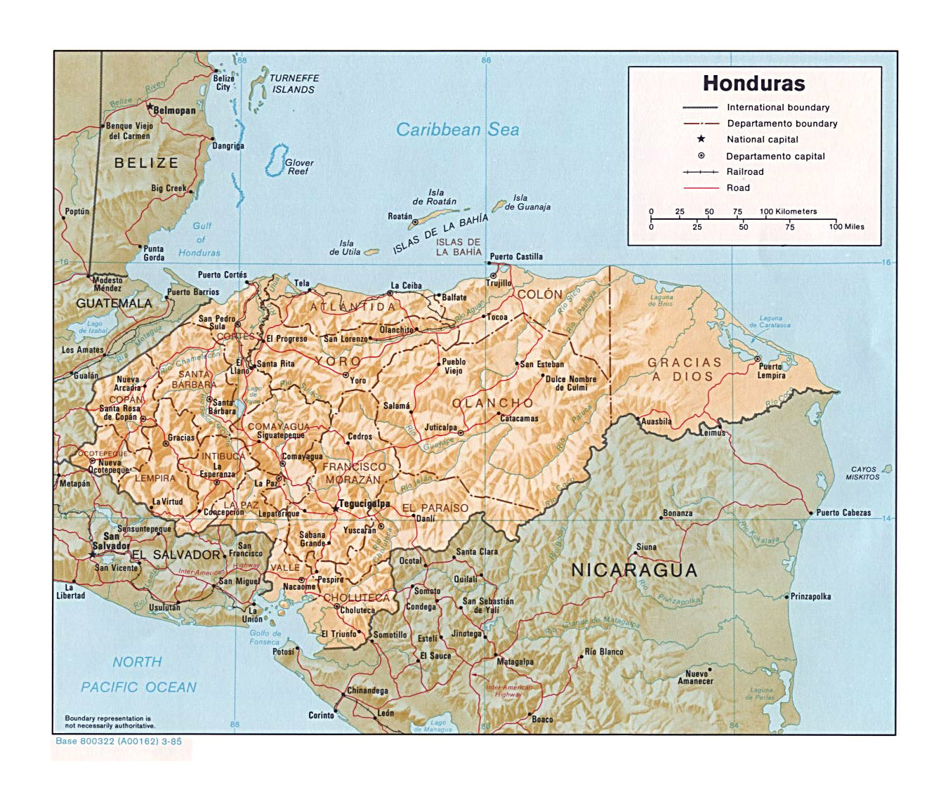 Detailed political and administrative map of Honduras with ...