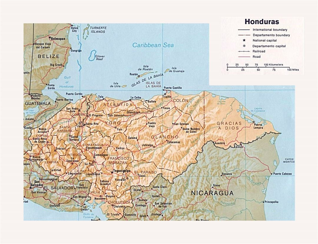 Detailed political and administrative map of Honduras with relief, roads, railroads and major cities
