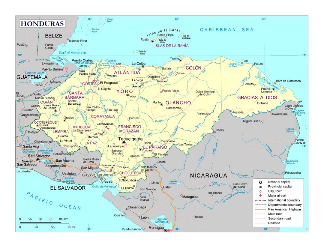Detailed political and administrative map of Honduras with roads, railroads, cities and airports