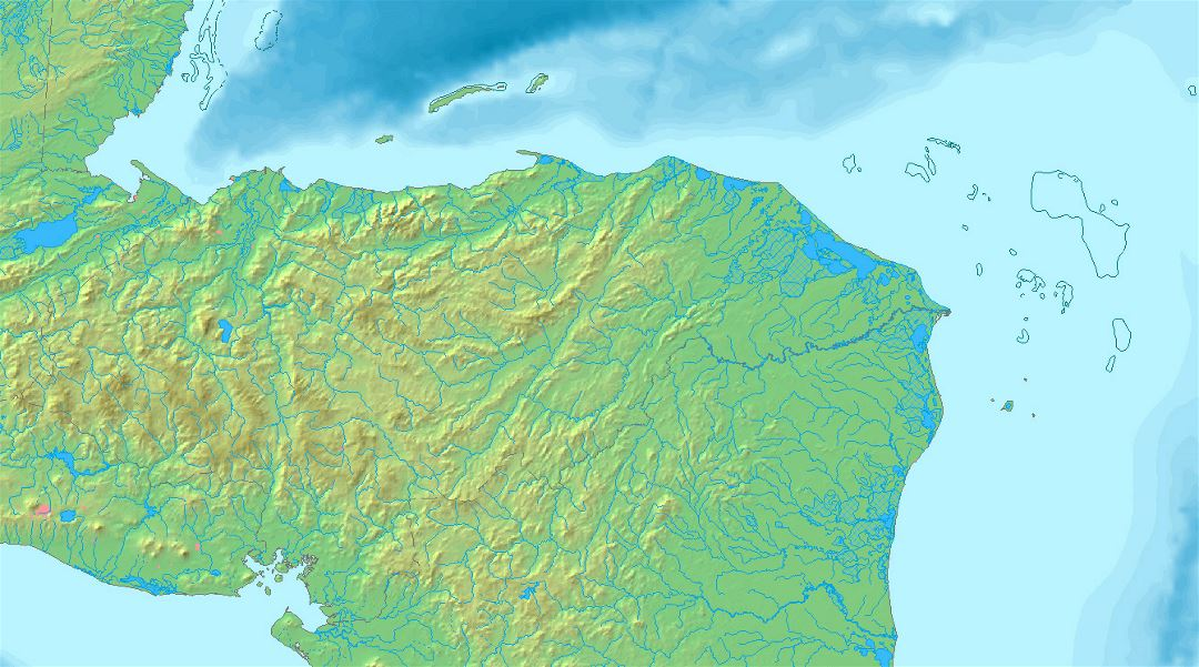 Detailed relief map of Honduras