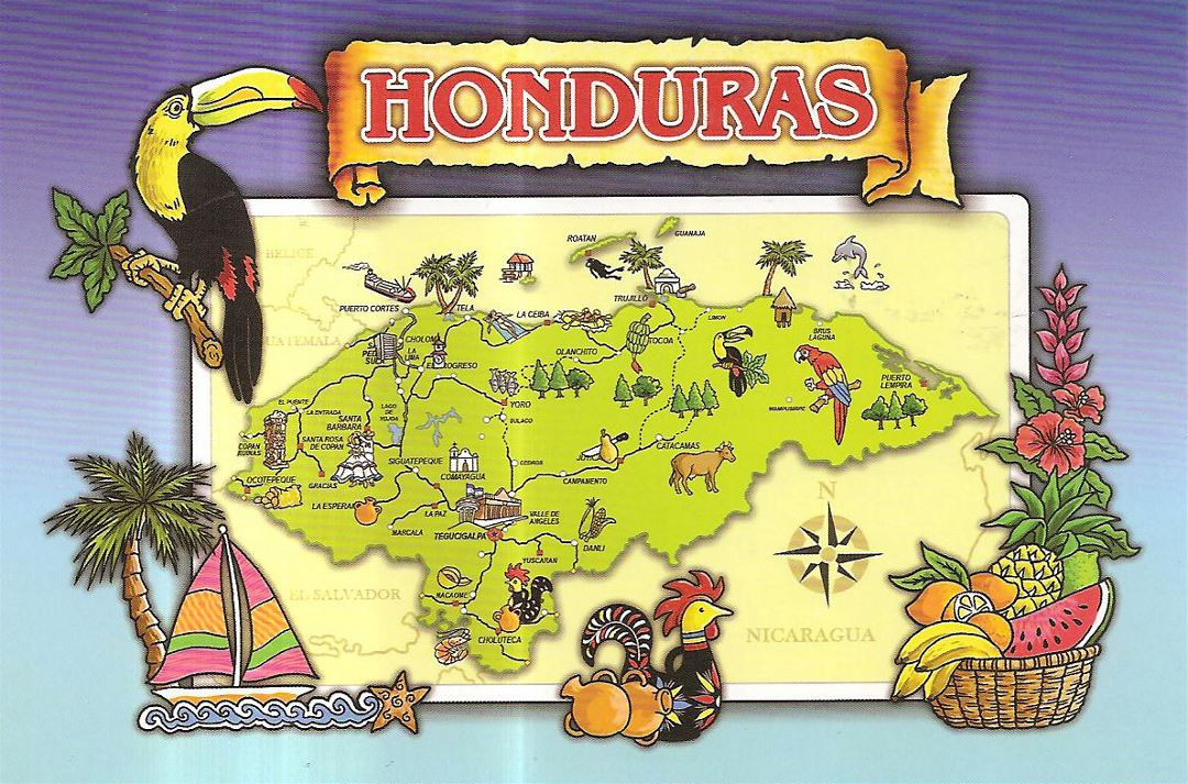Detailed tourist illustrated map of Honduras