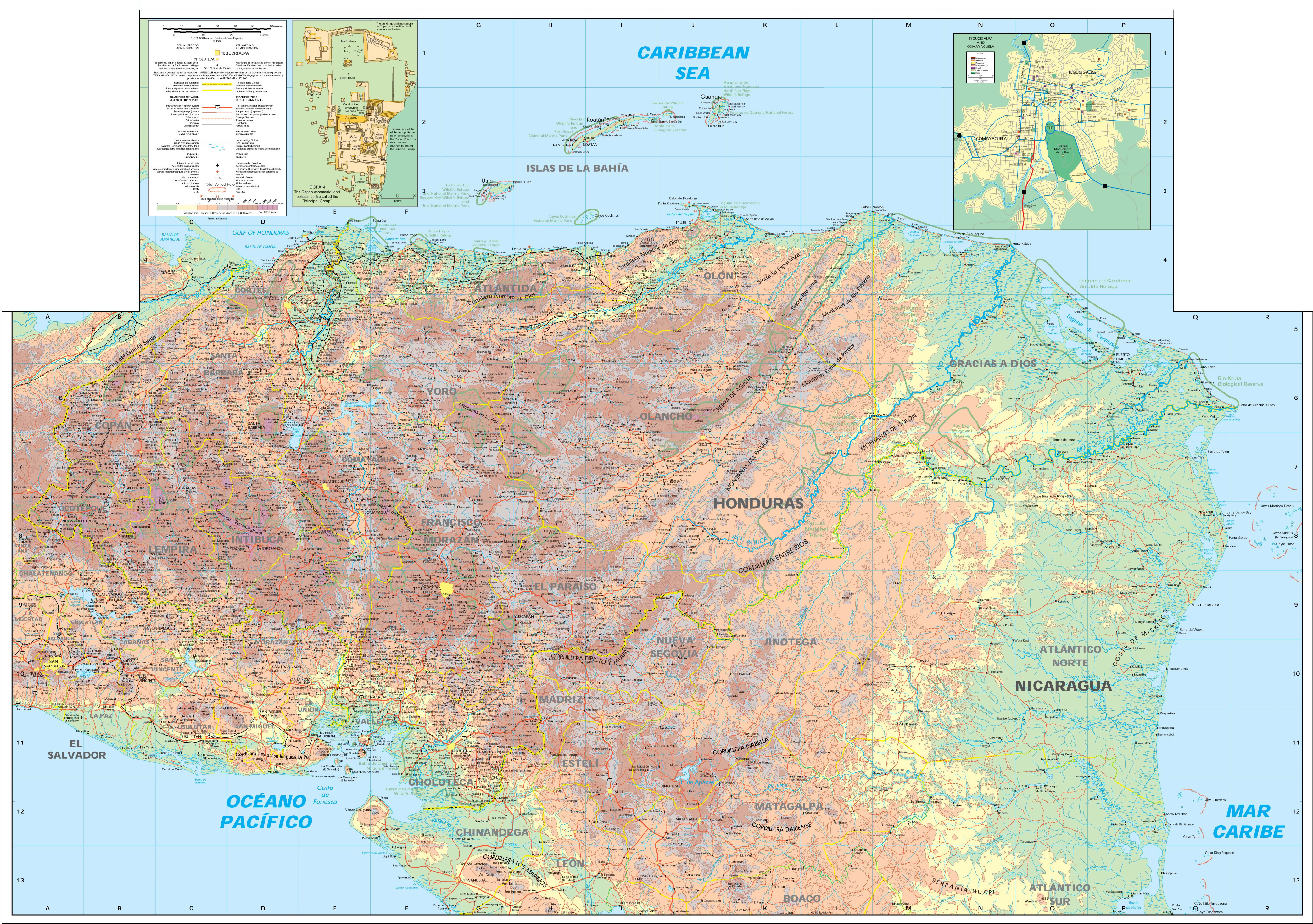 Large detailed elevation map of Honduras with other marks Honduras