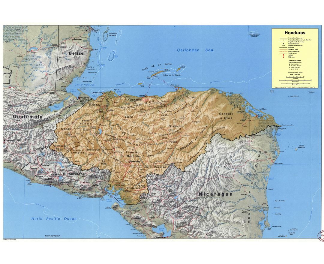 Maps of Honduras Detailed map of Honduras in English Tourist map