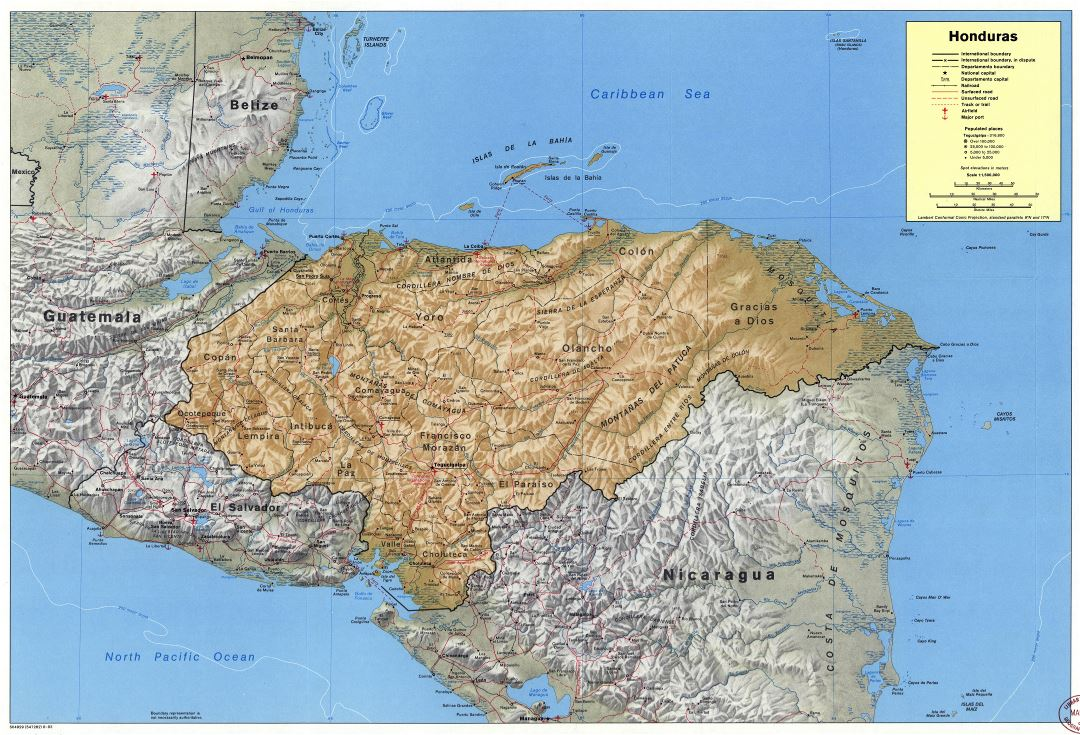 Large detailed political and administrative map of Honduras with relief, roads, railroads, cities, ports and airports - 1983