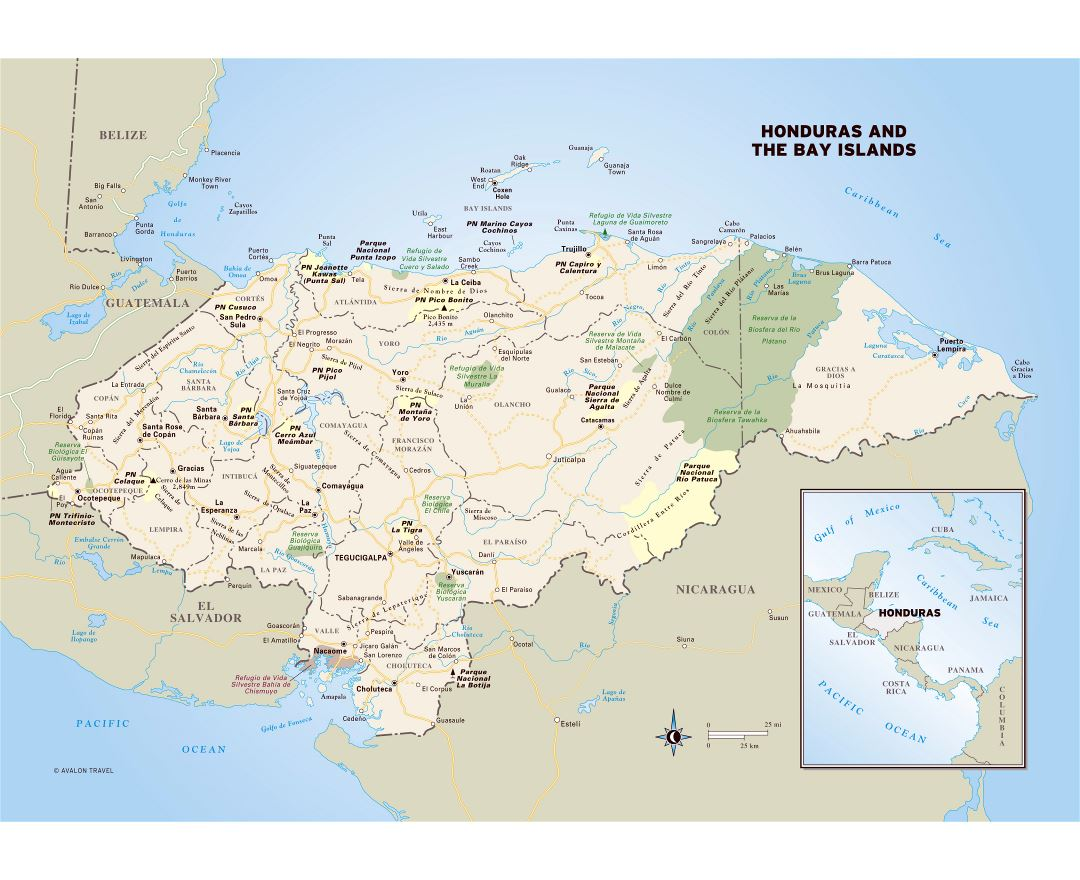 Maps of honduras detailed map of honduras in english tourist map large detailed political and administrative map of honduras with roads cities national parks and gumiabroncs Gallery