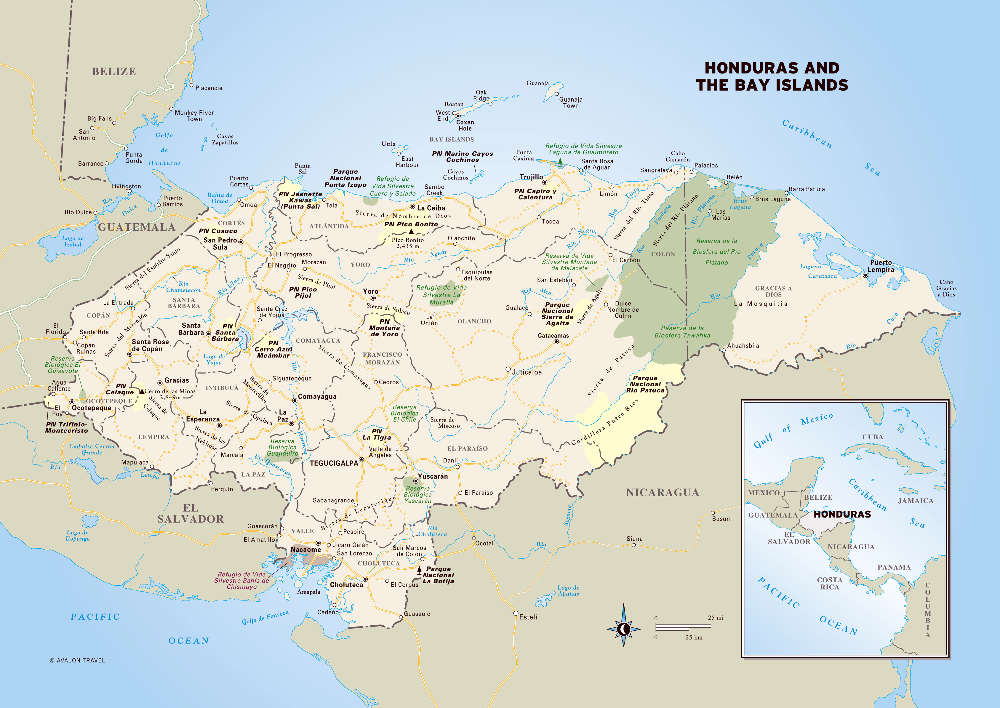 Large detailed political and administrative map of Honduras with