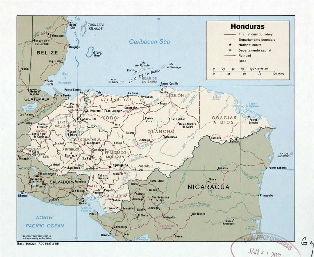 Large detailed political and administrative map of Honduras with roads, railroads and major cities - 1985