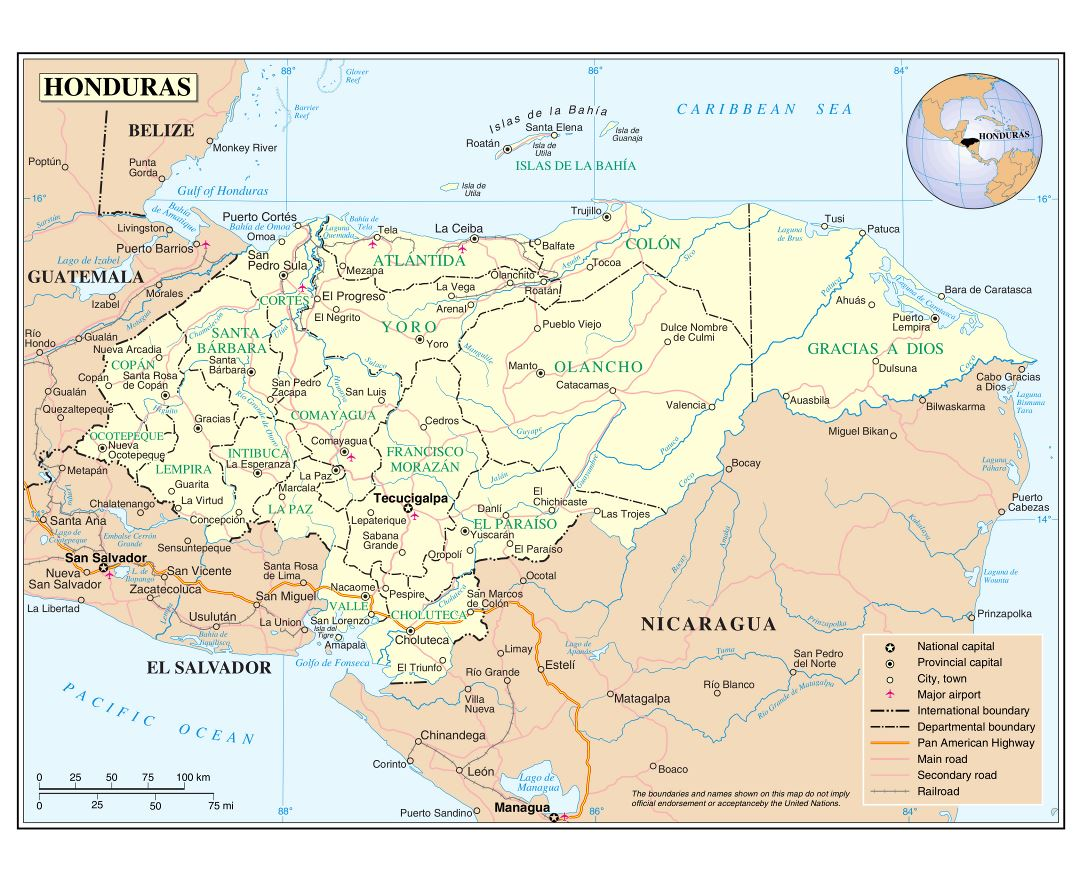 Maps of Honduras Detailed map of Honduras in English Tourist map