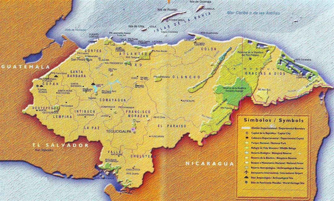 Large detailed tourist map of Honduras with administrative divisions and other marks