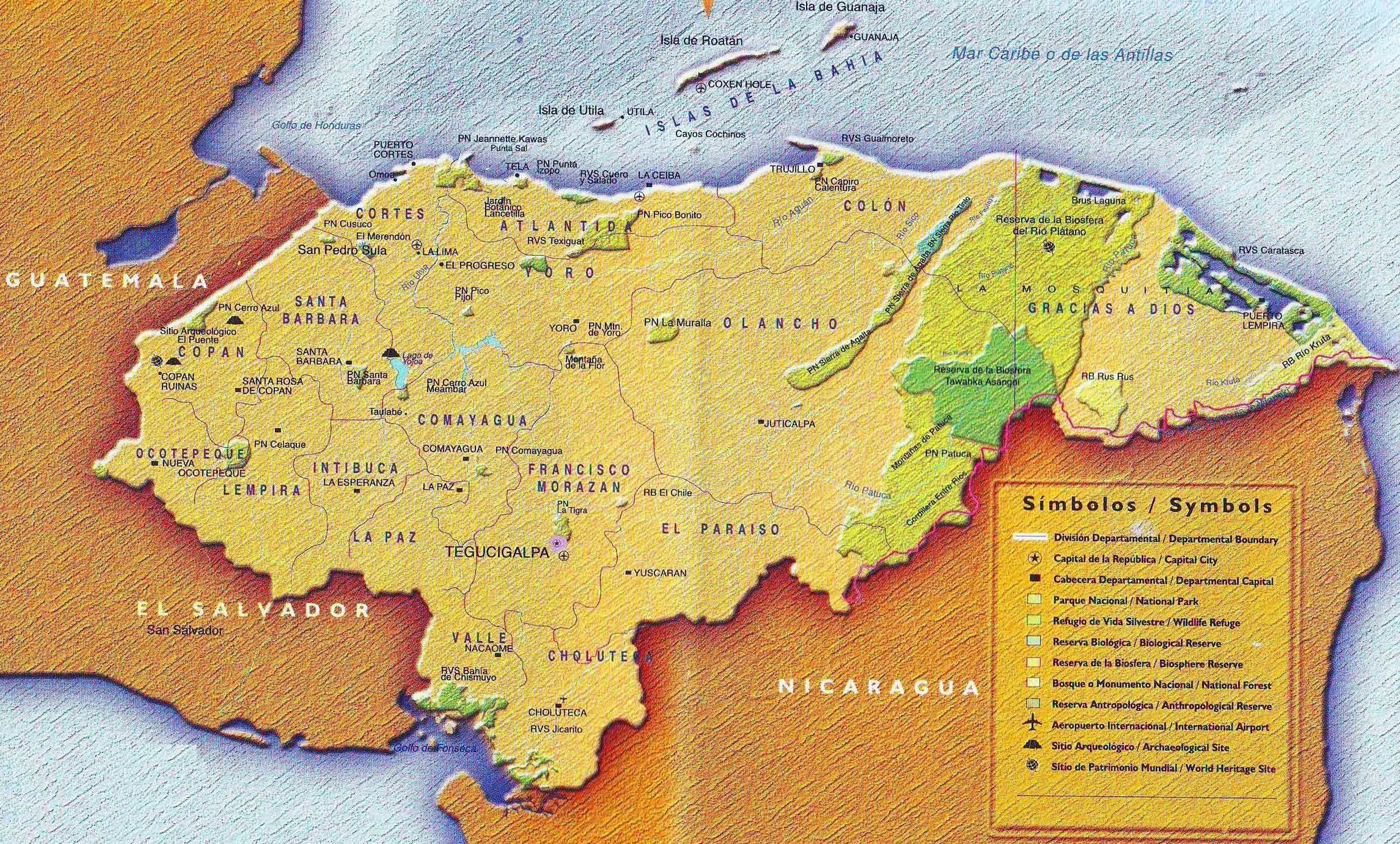 Large detailed tourist map of Honduras with administrative divisions