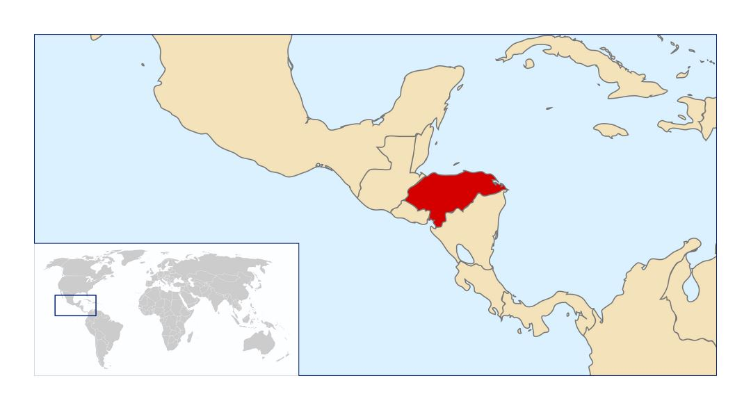 Large location map of Honduras in Central America