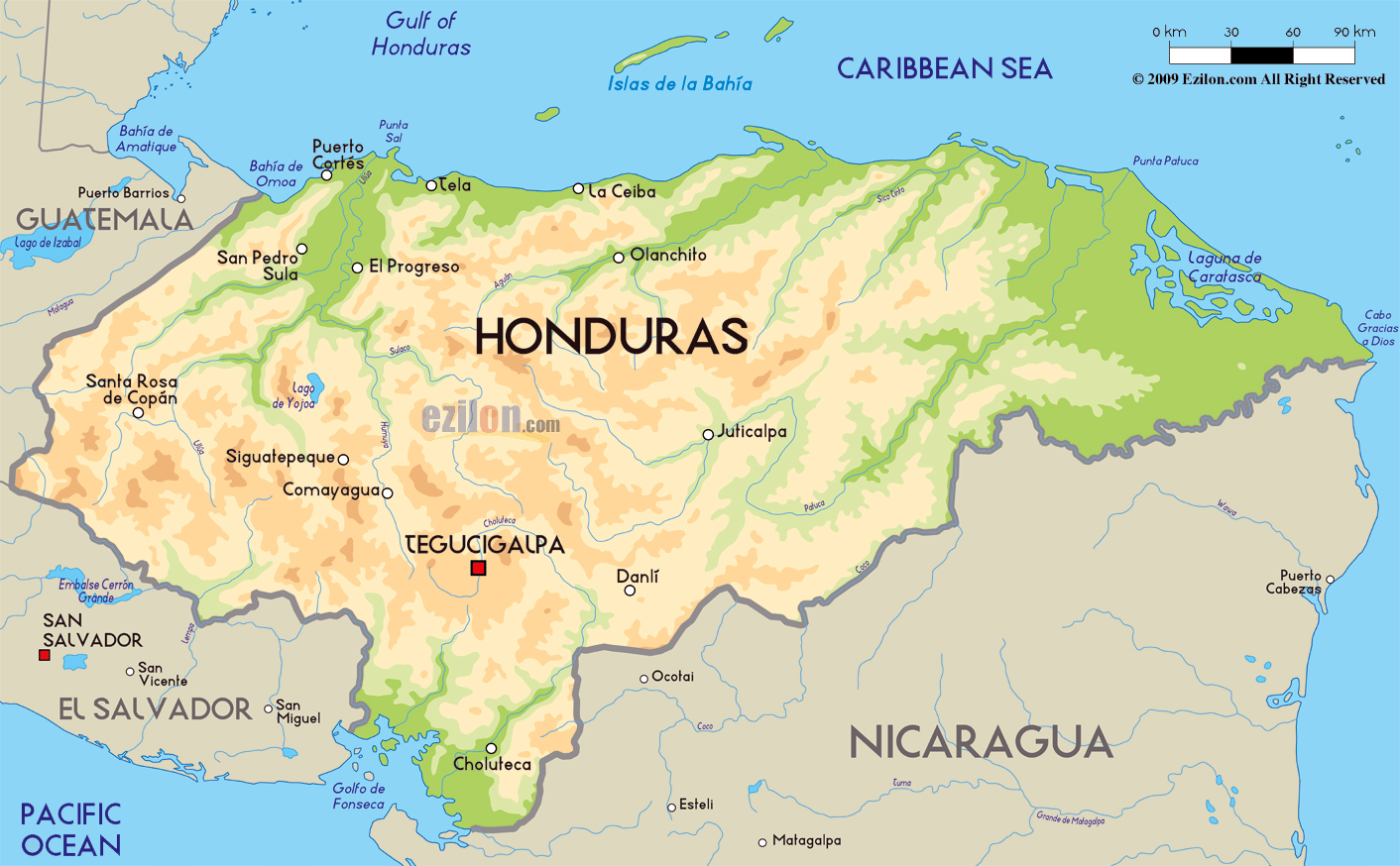 Large physical map of Honduras with major cities Honduras North