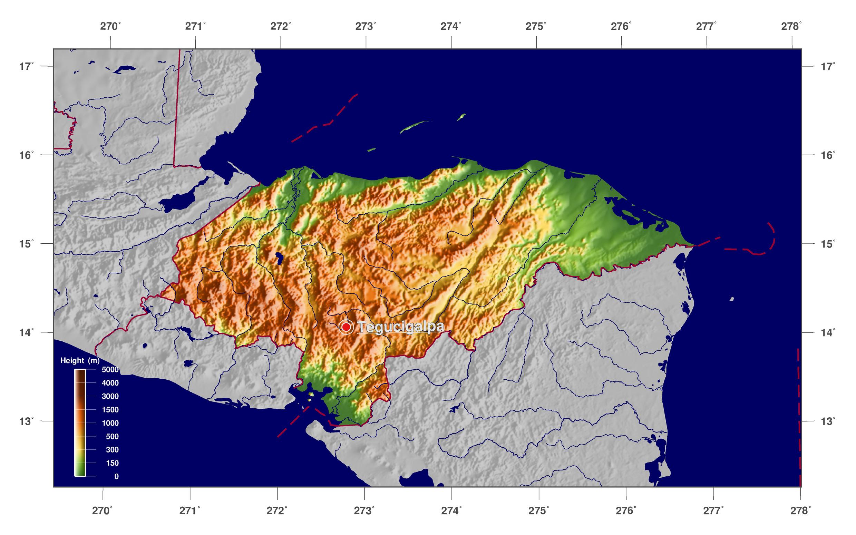 Large physical map of Honduras Honduras North America Mapsland