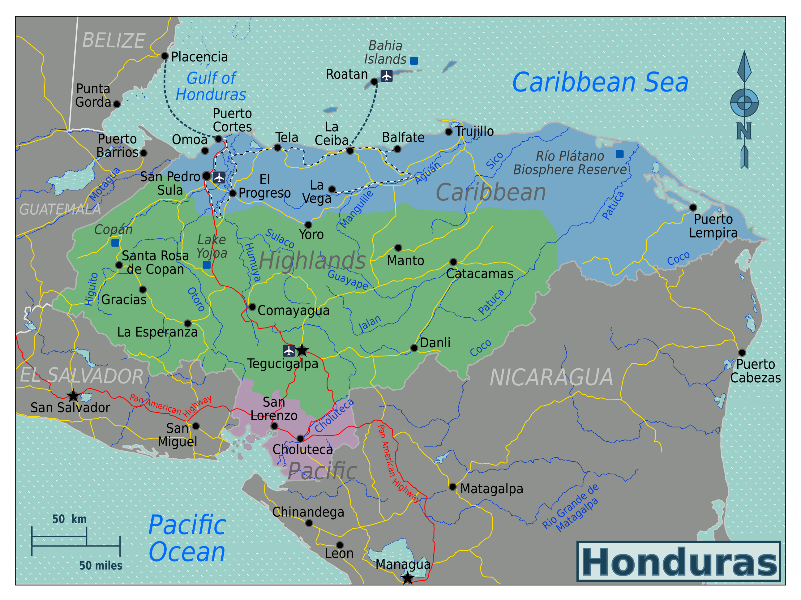 Picture of: Large Regions Map Of Honduras Honduras North America Mapsland Maps Of The World