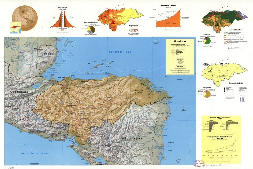 Large scale country profile map of Honduras - 1983
