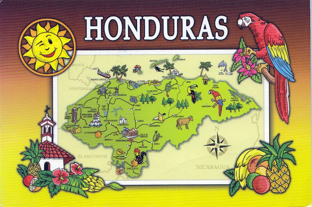 Large tourist illustrated map of Honduras