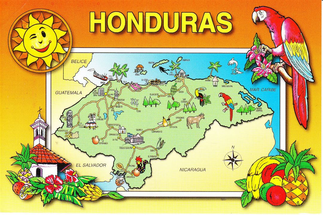 Large tourist illustrated map of Honduras with roads and cities