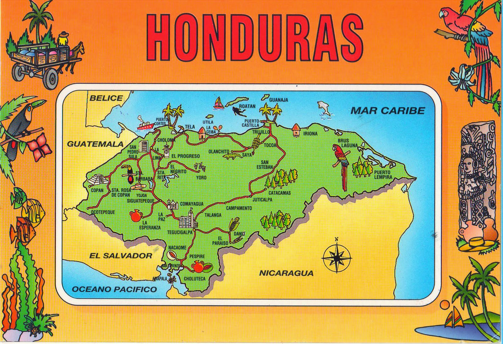 Large travel illustrated map of honduras honduras north america large travel illustrated map of honduras gumiabroncs