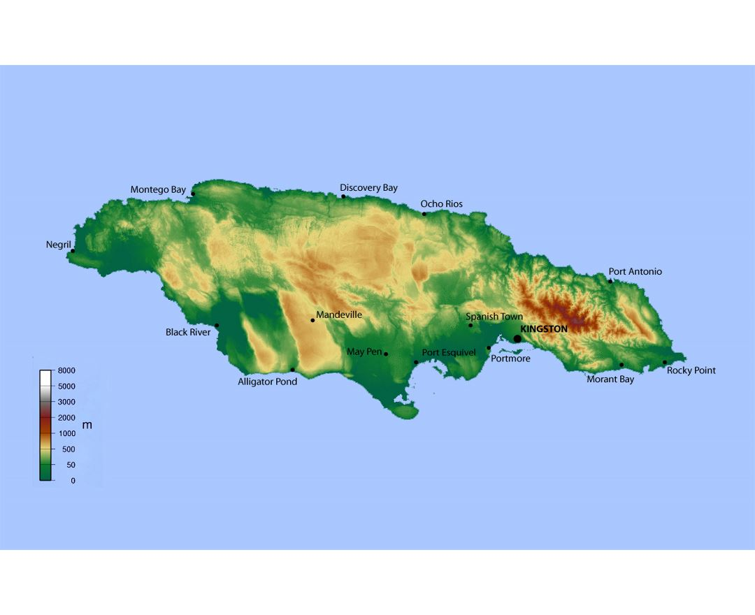 Detailed elevation map of Jamaica