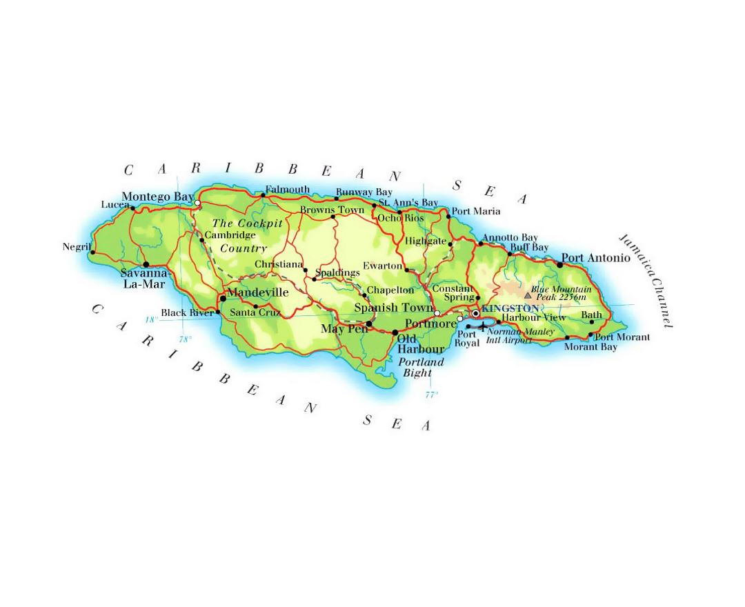 detailed elevation map of jamaica with roads railroads cities and airports. maps of jamaica  detailed map of jamaica in english  tourist map