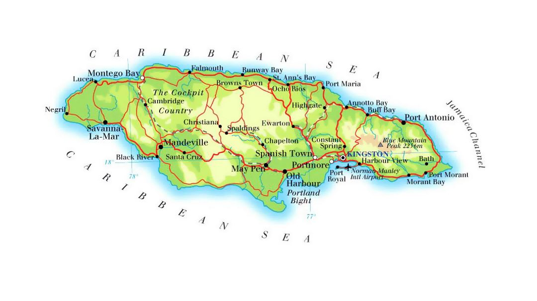 detailed elevation map of jamaica with roads railroads cities and airports