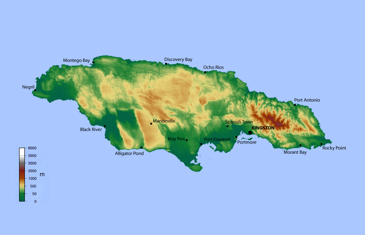 Detailed elevation map of Jamaica Jamaica North America