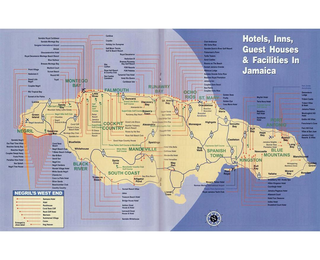 Detailed map of hotels, inns, guest houses and facilities in Jamaica