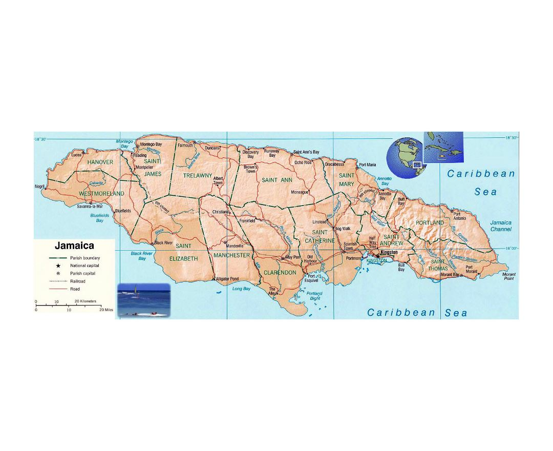 detailed political and administrative map of jamaica with relief roads railroads and major cities