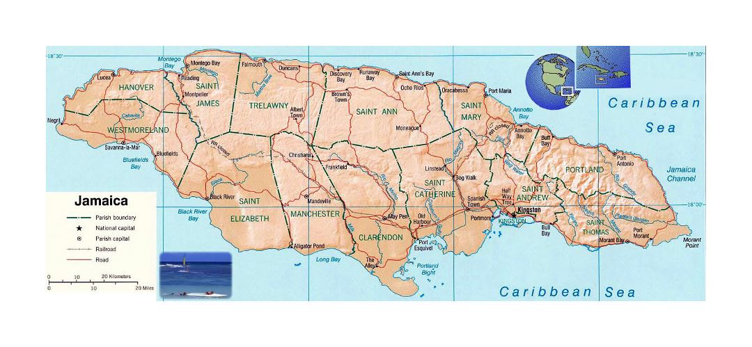 Detailed political and administrative map of Jamaica with relief, roads, railroads and major cities