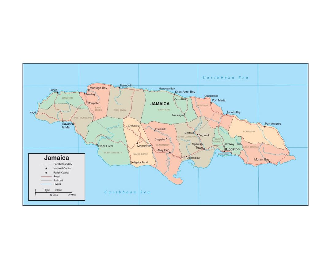 Detailed political and administrative map of Jamaica with roads, railroads, rivers and major cities