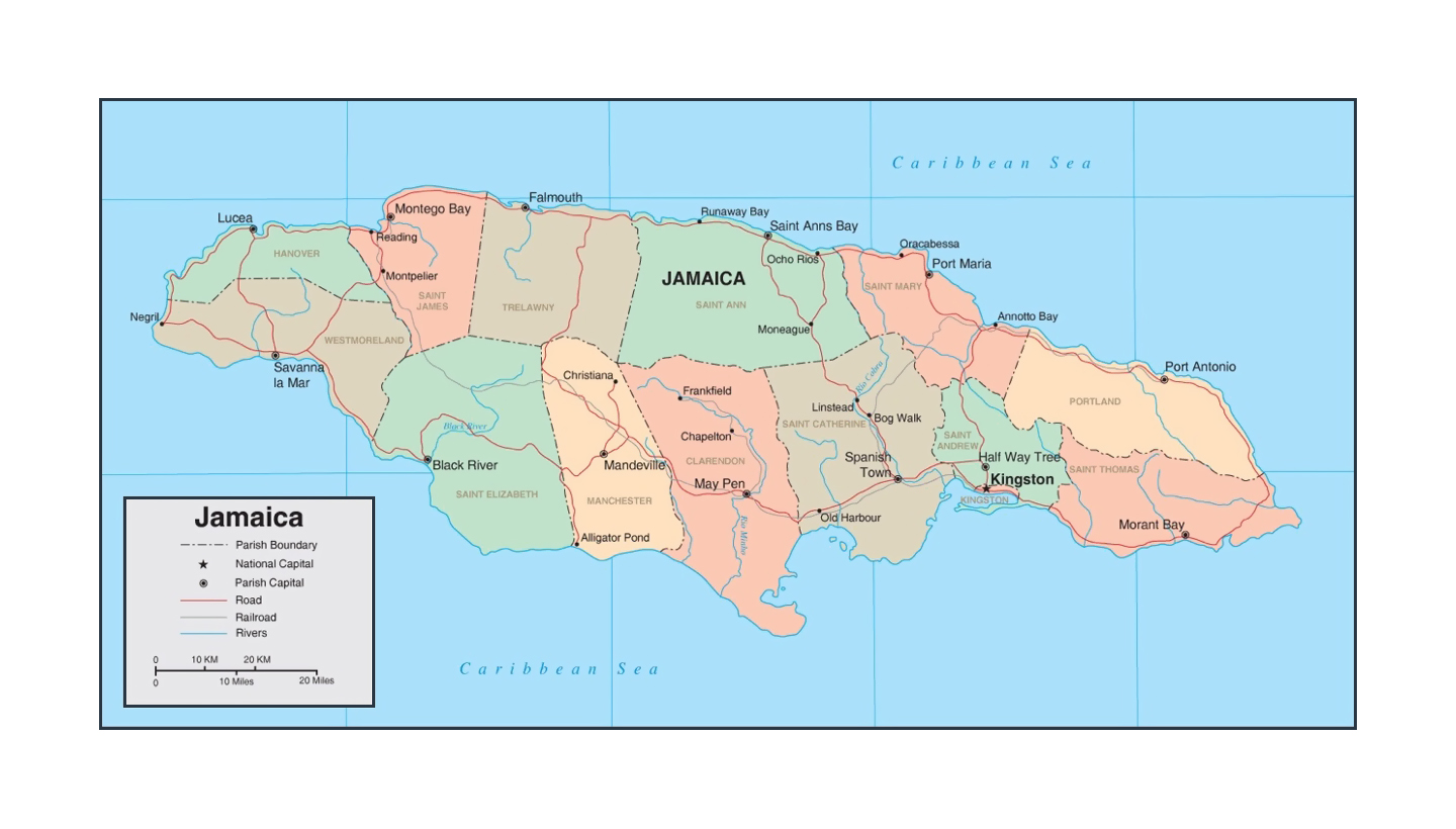 Detailed political and administrative map of Jamaica with roads