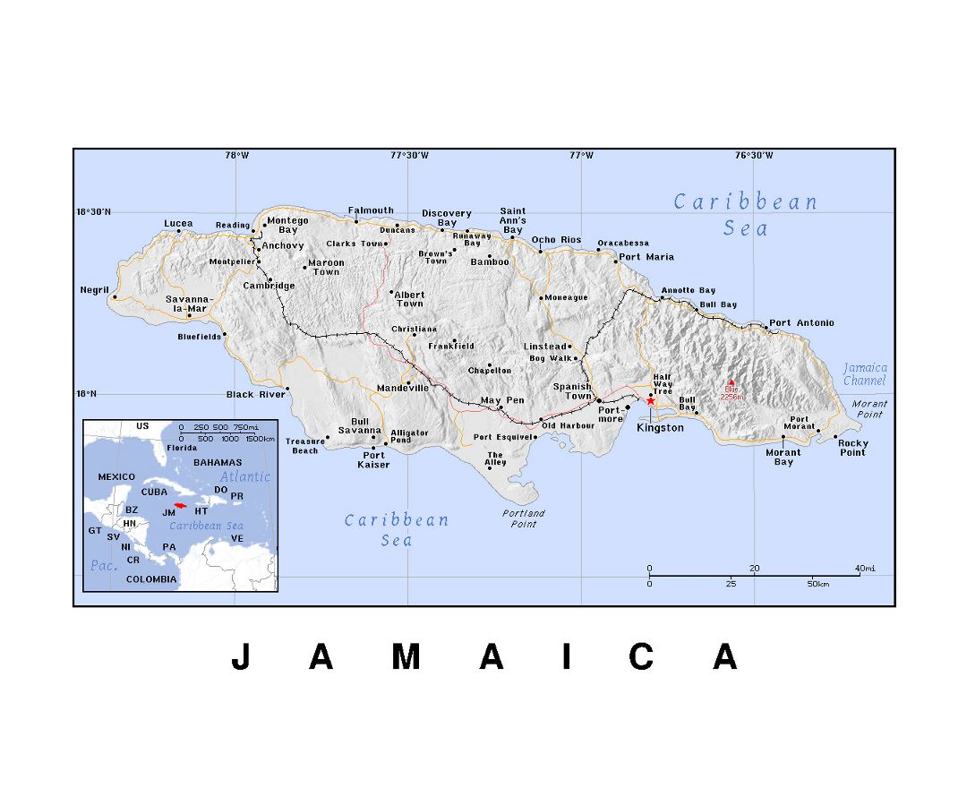 detailed political map of jamaica with relief