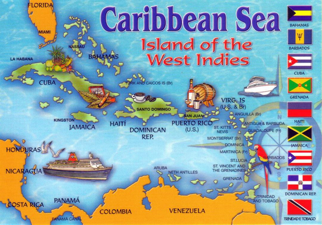 Detailed tourist illustrated map of the Carribean Sea