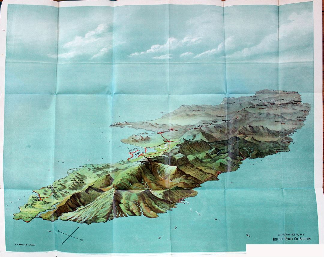 Large bird's eye map of Jamaica