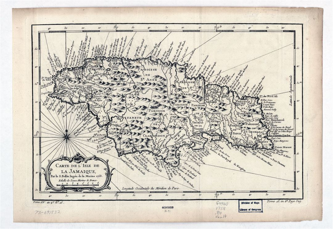 Large detailed old antique map of Jamaica with relief and other marks - 1758