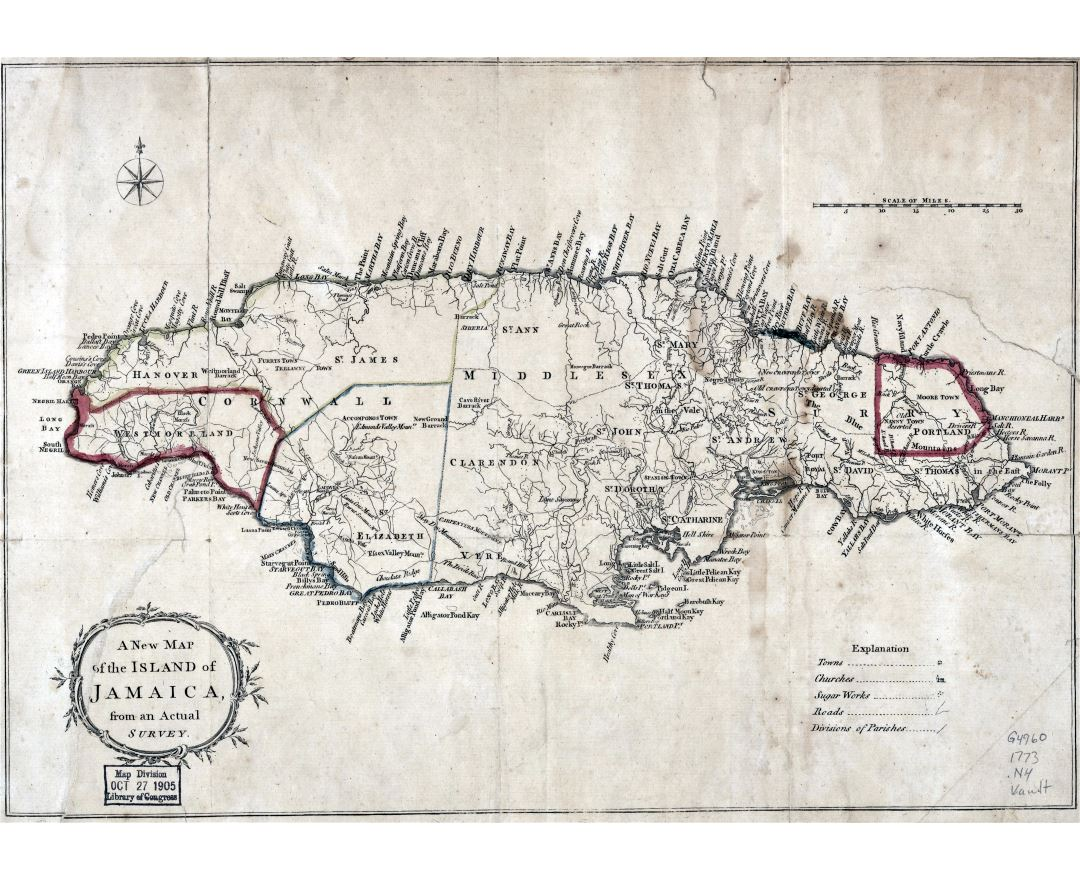 Large detailed old map of Jamaica - 1773