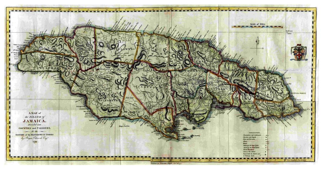 Large detailed old political and administrative map of Jamaica with relief and other marks - 1794