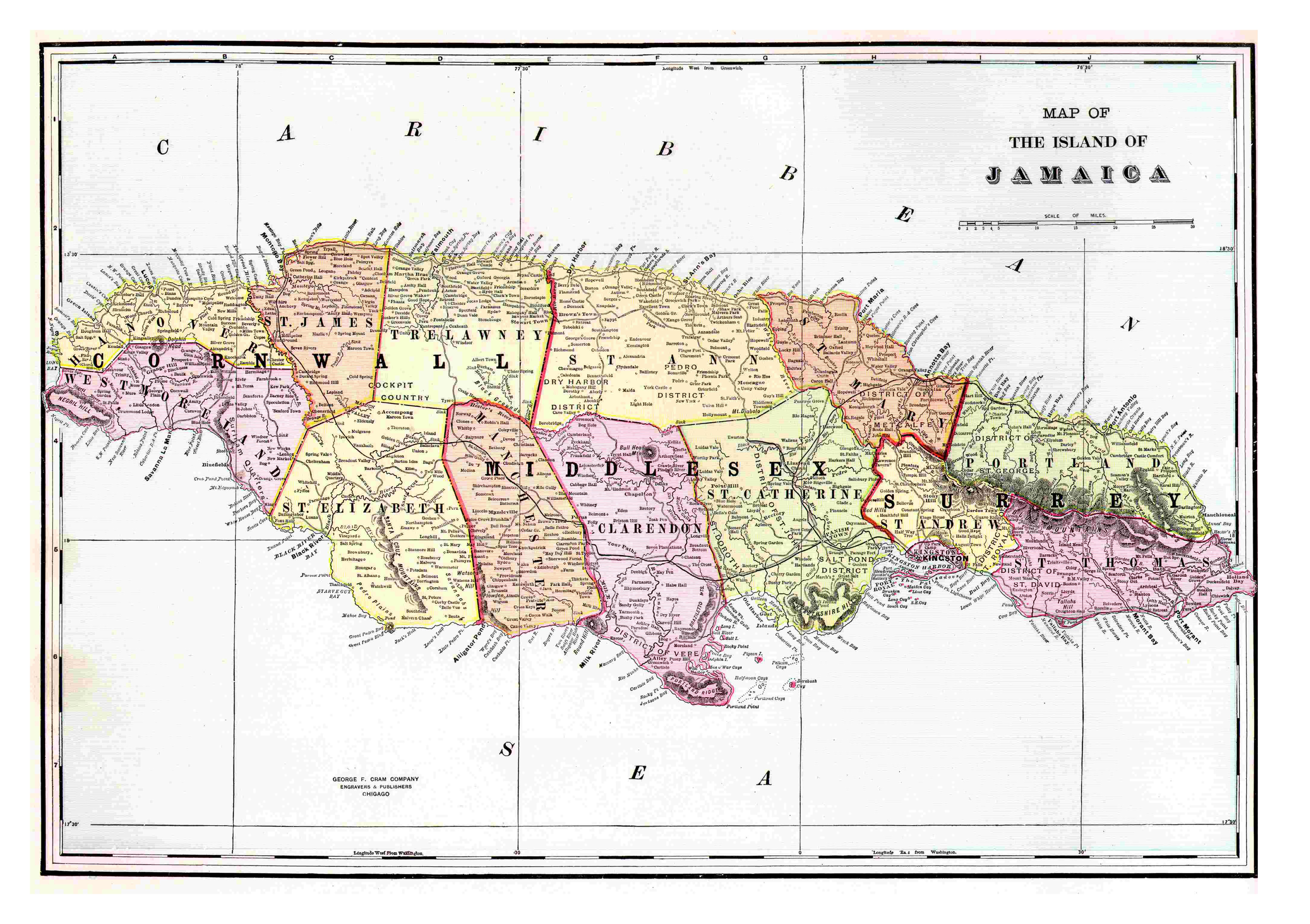 Large detailed old political and administrative map of Jamaica with ...