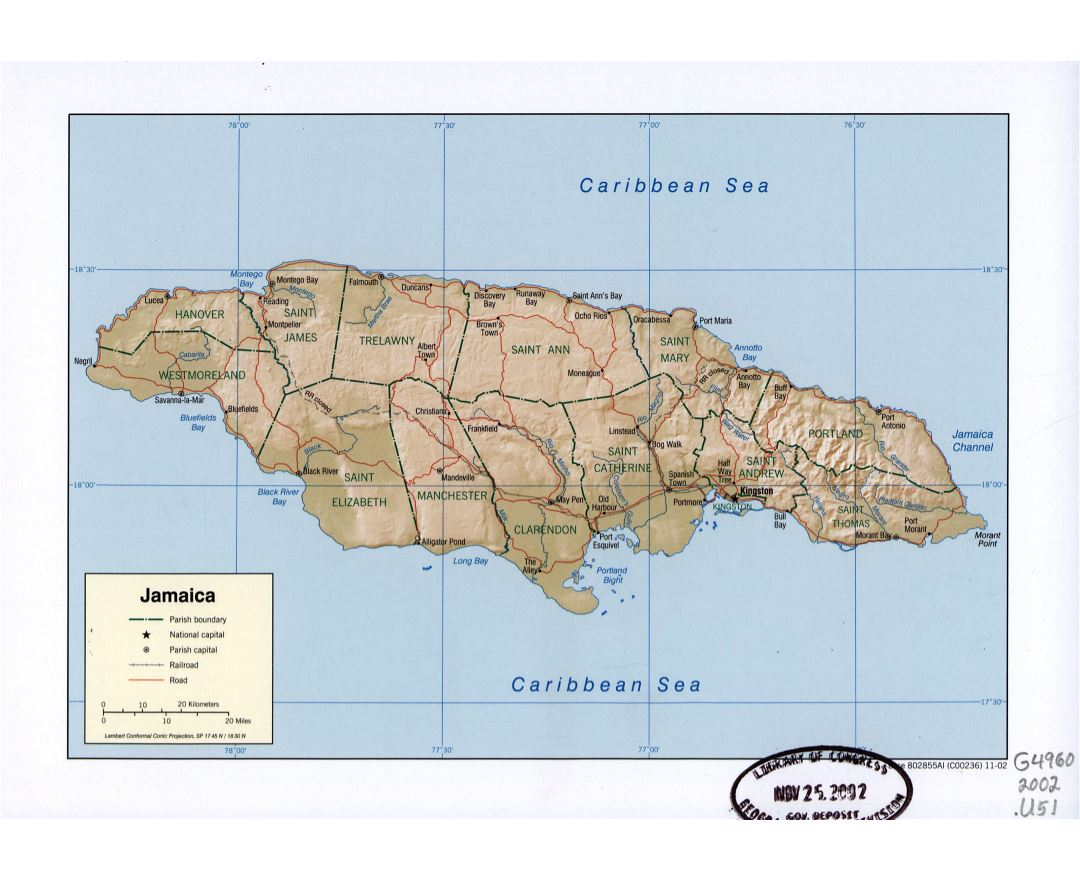 Large detailed political and administrative map of Jamaica with relief, roads, railroads and major cities - 2002