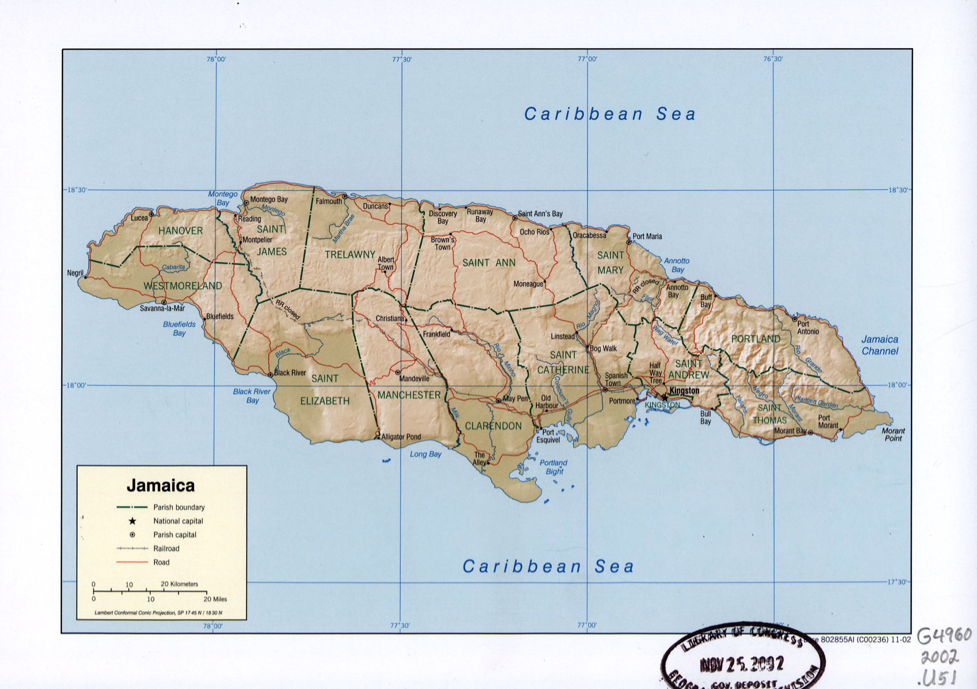 Large detailed political and administrative map of Jamaica with ...