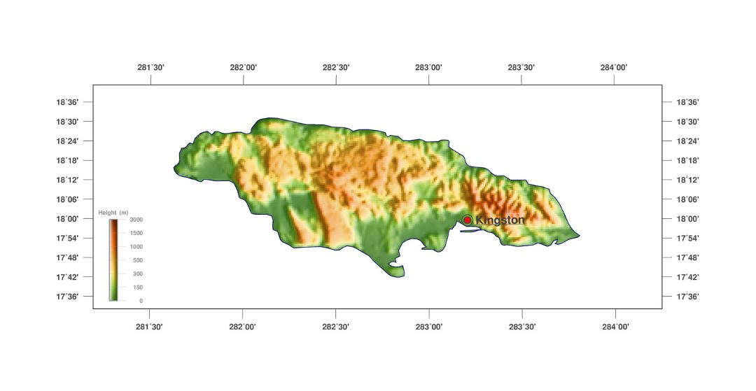 Large elevation map of Jamaica with capital