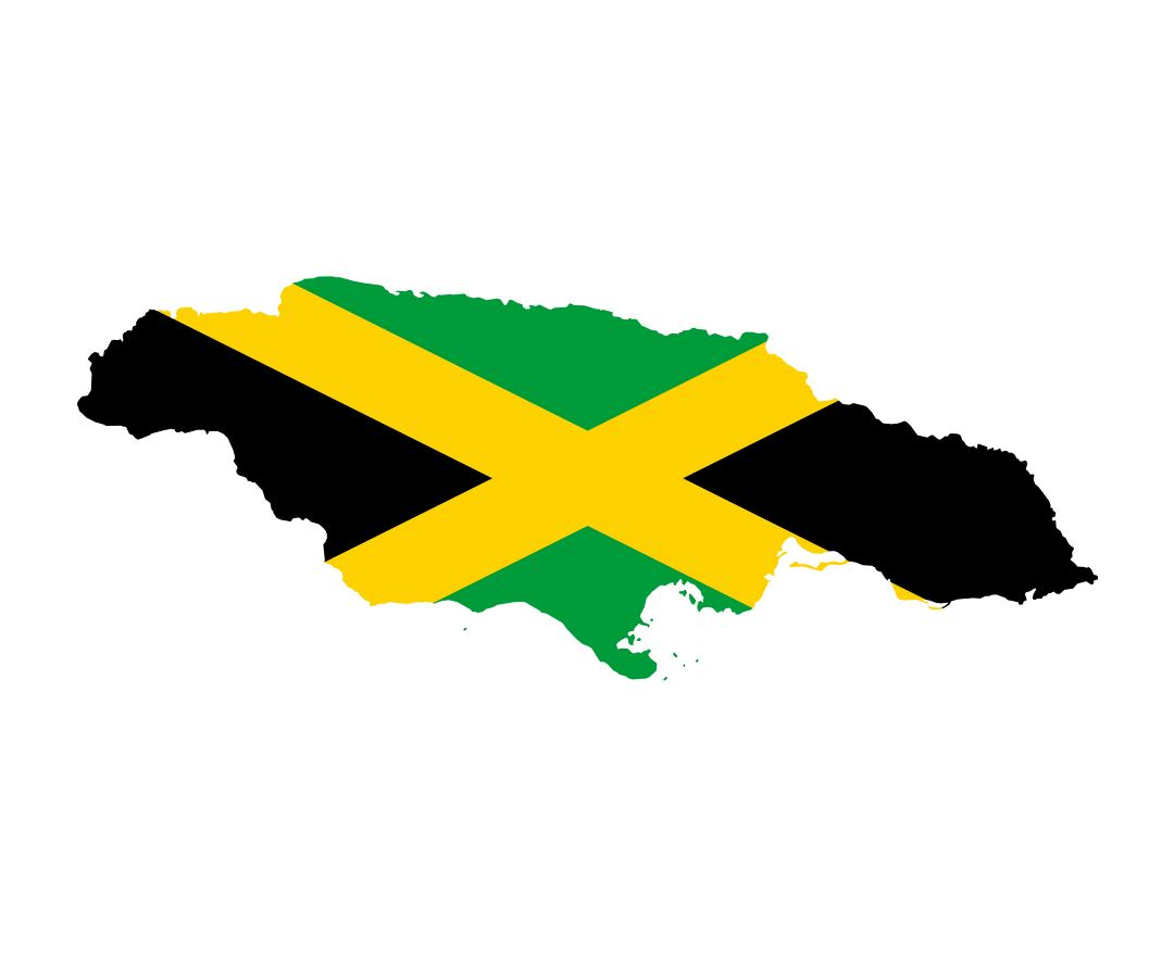 Large flag map of Jamaica