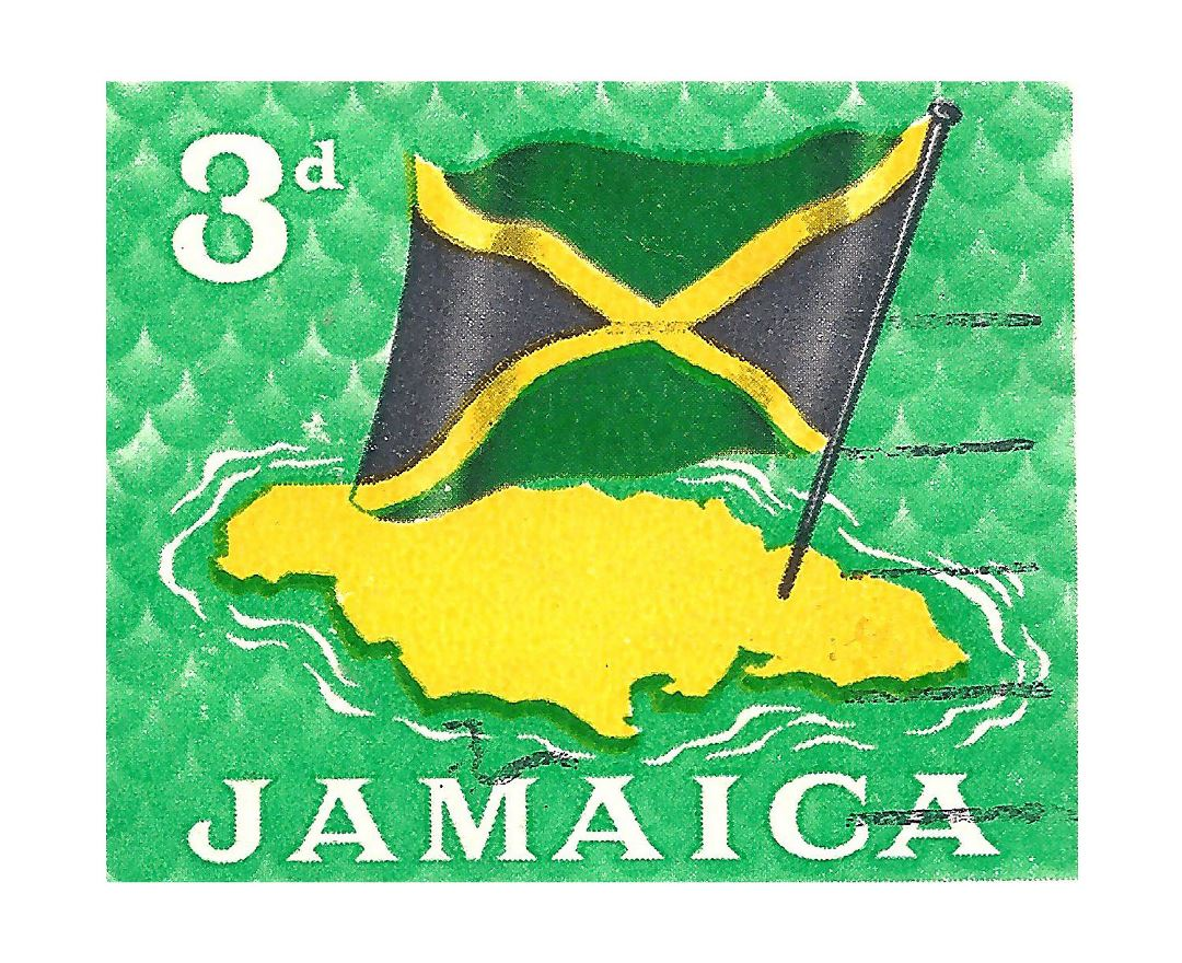 Large Jamaica map and flag postage stamp