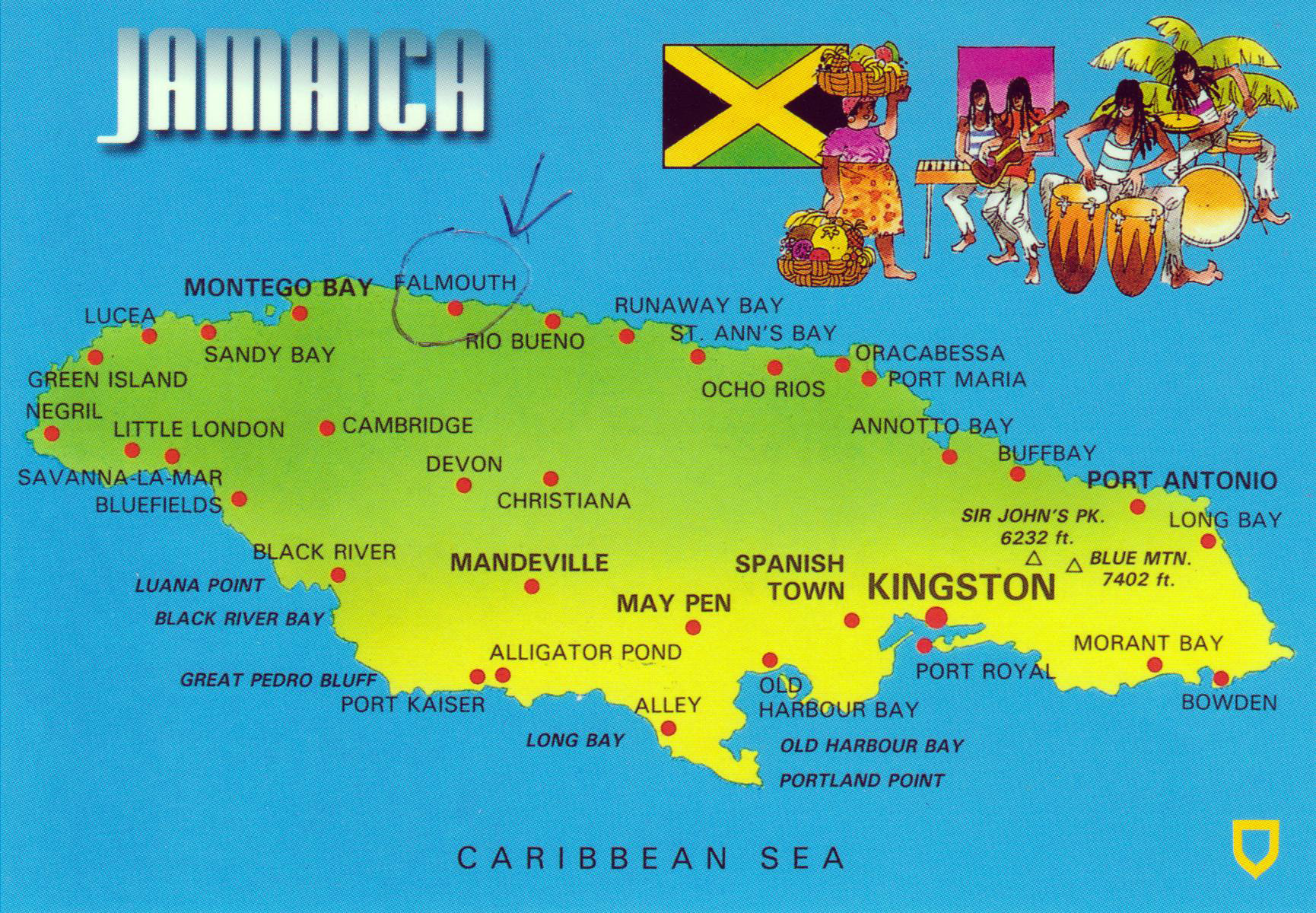 Large map of Jamaica with cities Jamaica North America