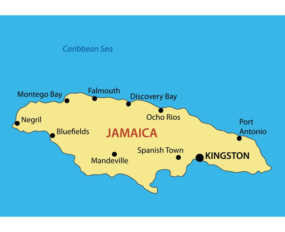 Large map of Jamaica with major cities