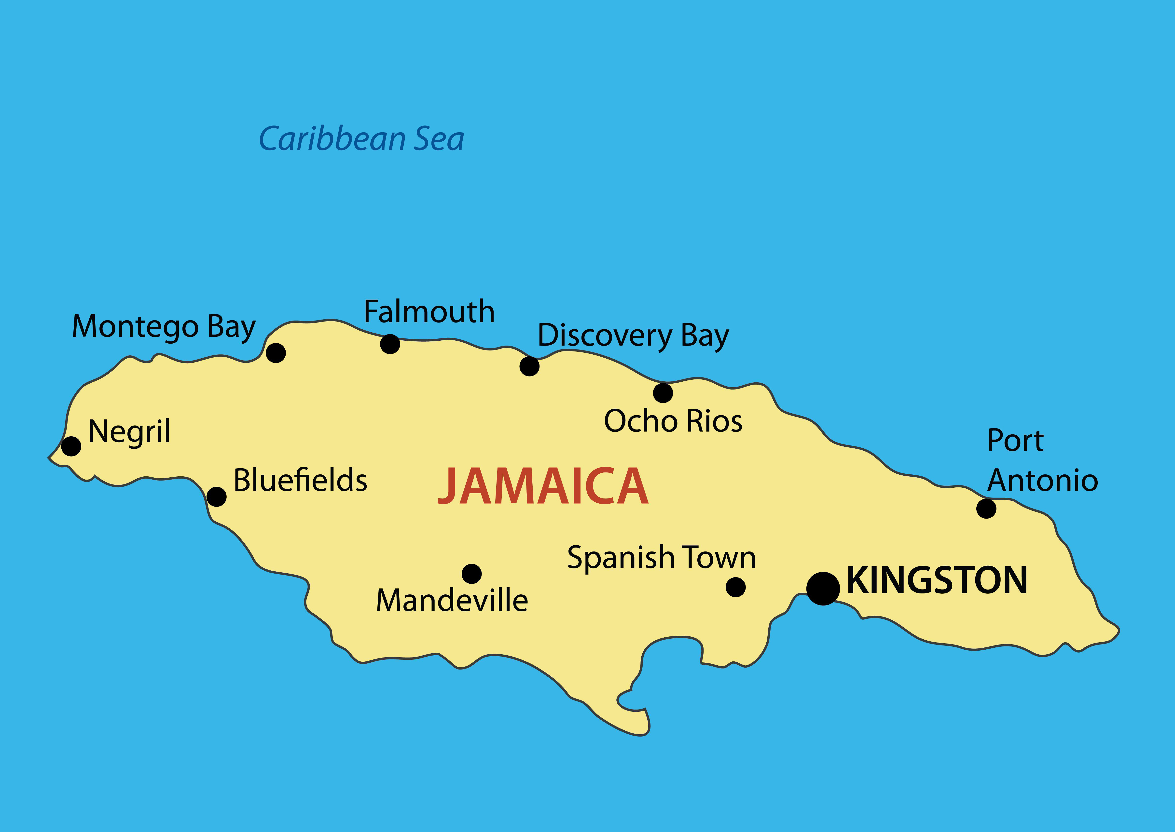 Large Map Of Jamaica With Major Cities Jamaica North America - World map jamaica