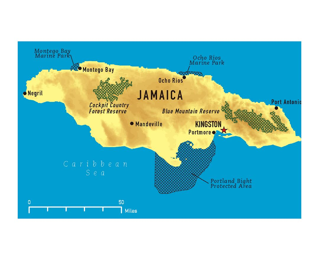 Large map of Jamaica with other marks