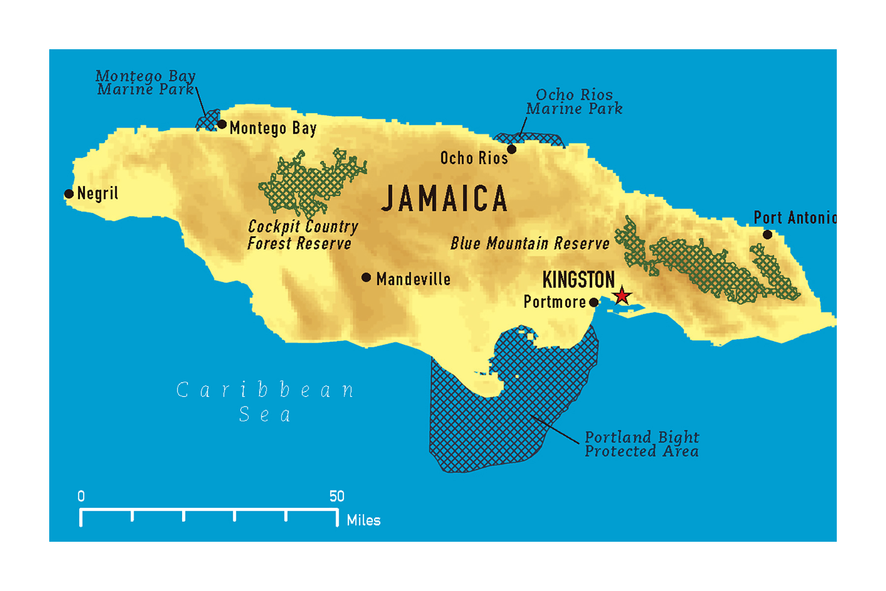 Large map of Jamaica with other marks | Jamaica | North America ...