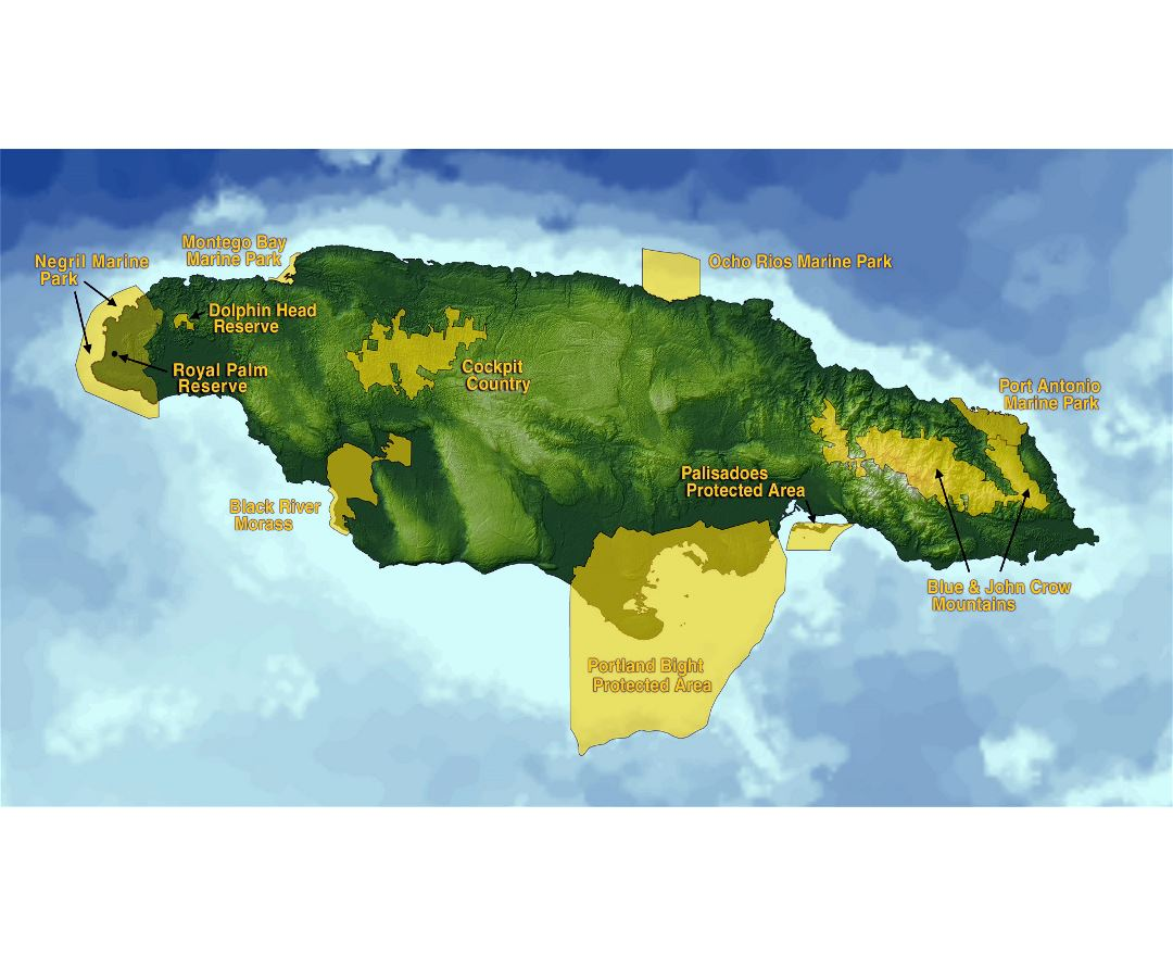 Large map of Jamaica with protected areas