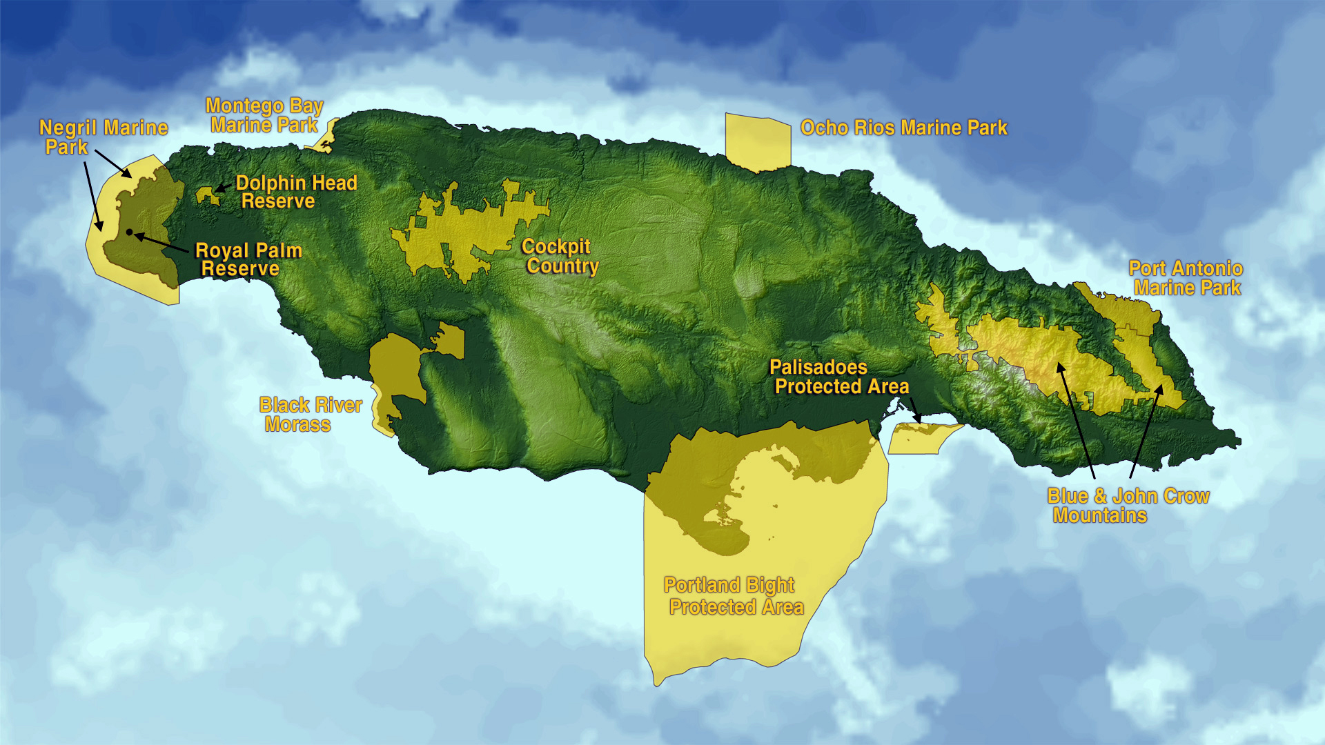 Large map of Jamaica with protected areas | Jamaica | North ...